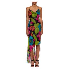 1990S Black Floral Print Silk Chiffon Bias Cut & Cowl Neck Gown With Bedazzled