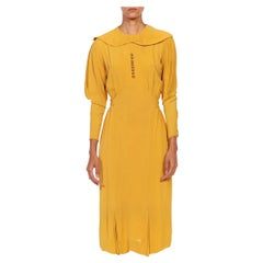 1930S Mustard Yellow Rayon Crepe Caplet Dress With Leg O Mutton Sleeves