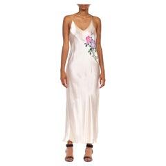 1990S Cream Silk Hand Painted  Slip Dress