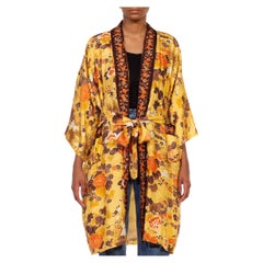 1960S Butter Yellow & Brown Floral Silk Kimono