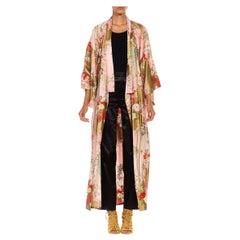 1990S Pink Organic Cotton Traditional Japanese Floral Motif Kimono