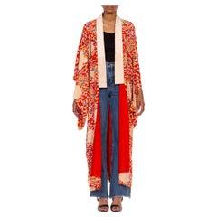 1930S Red Multicolored Floral Kimono