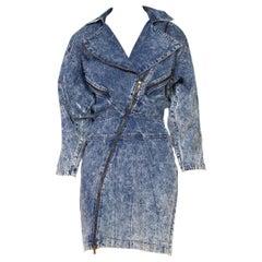 1980S Blue Grey Acid Wash  Cotton Denim Alaia Style Dress