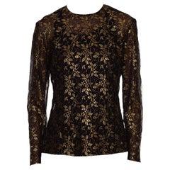 1990S GIANFRANCO FERRE Black & Gold Silk Lace Blouse
