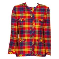 1990S ESCADA Multicolor Linen Plaid Jacket