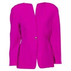 1980S THIERRY MUGLER Fuchia Wool Single Button Jacket