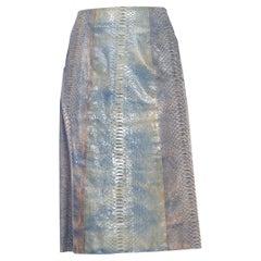 1990S CALVIN KLEIN Light Blue Snake Skin Hand Dyed Pencil Skirt
