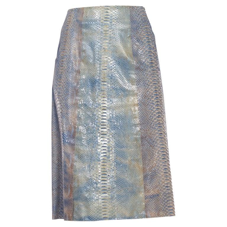 1990S CALVIN KLEIN Light Blue Snake Skin Hand Dyed Pencil Skirt For Sale