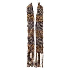 1990S MISSONI Grey Blue & Yellow Wool Chunky Knit Scarf
