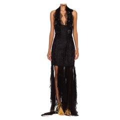 MORPHEW COLLECTION Black Silk Jacquard & Chiffon Chantilly Lace Sexy Deconstruc