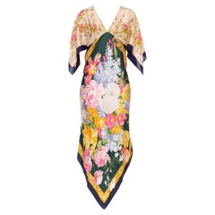 MORPHEW COLLECTION Cream & Black Floral Silk Two Scarf Dress