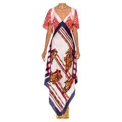 Red White & Blue Bias Cut Silk Twill Two-Scarf Equestrian Print Dress