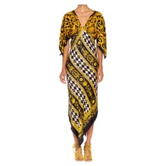 MORPHEW COLLECTION Black & Gold Status Print Silk Geometric Two Scarf Dress
