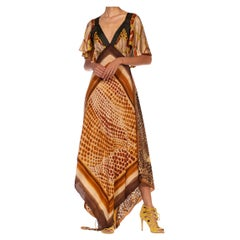 MORPHEW COLLECTION Brown & Black Multi  Silk Twill 3-Scarf Leopard Status Print