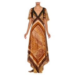 MORPHEW COLLECTION Brown African Safari Silk Twill 3-Scarf Dress Made From Vint