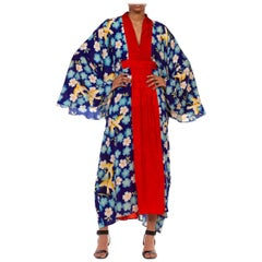 MORPHEW COLLECTION Blue & Red Silk Hand Printed Floral Birds Kaftan Made From 1