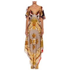 MORPHEW COLLECTION Gold Versace Style Print Silk Twill 3-Scarf Dress Made From