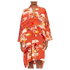 MORPHEW COLLECTION Coral Silk Floral Hand Painted Kaftan Made From 1950'S Japan