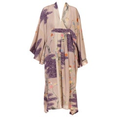 MORPHEW COLLECTION Dusty Purple Silk Hand Painted Kaftan Made From 1950'S Japan