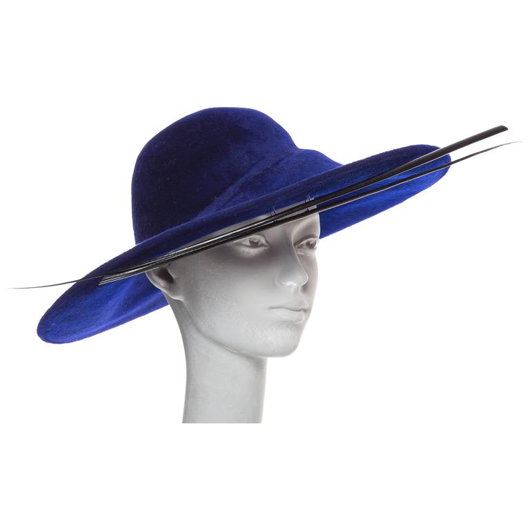 Philip Treacy Indigo Wool Felt Hat