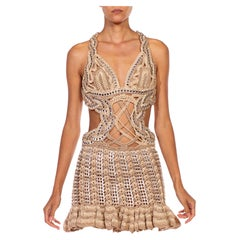 MORPHEW COLLECTION Beige Nylon & Metal Beer Tabs Handmade Crocheted Dress