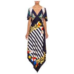 MORPHEW COLLECTION Navy Blue & White Silk Twill Stripe Versace Style Print 3-Sc
