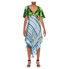 MORPHEW COLLECTION Light Blue & Electric Green Silk Twill Swirl Print 3-Scarf D