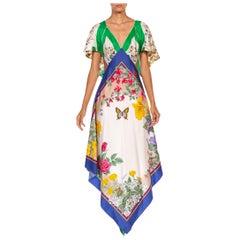 MORPHEW COLLECTION Green White & Blue Silk Twill Garden Print 3-Scarf Dress Mad
