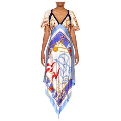 MORPHEW COLLECTION White & Blue Silk Twill Chain Status Print 3-Scarf Dress Mad