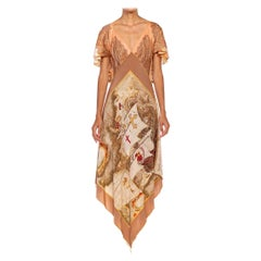 MORPHEW COLLECTION Beige & Cream Silk Twill Paisley Print 3-Scarf Dress Made Fr