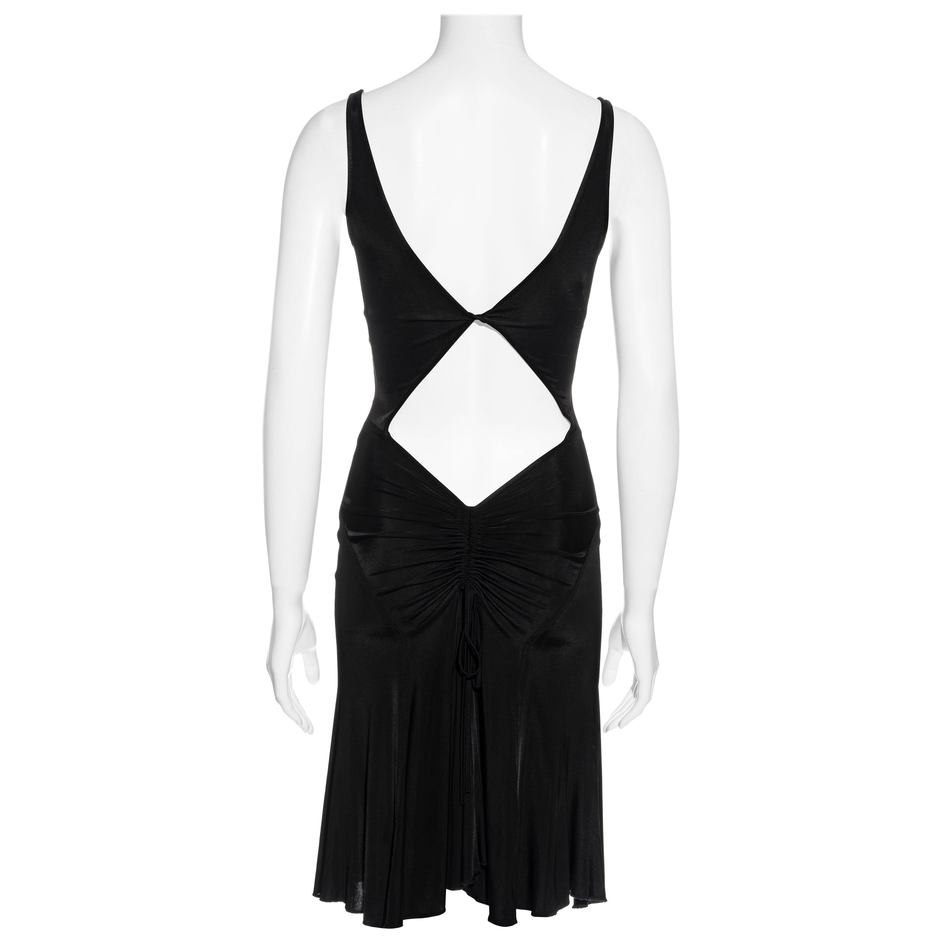 Versace Jeans Couture black rayon dress with cut-out back, c. 2000