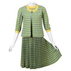 1960s Tiziani Couture by Karl Lagerfeld Lemon Silk Print Dress and Vest Set