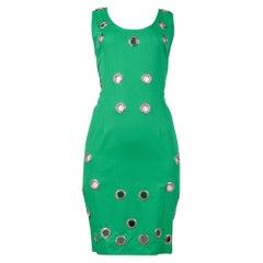 Vintage Alberta Ferretti Green Sleeveless Grommet Shift Dress