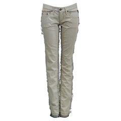 Iconic Alexander Mcqueen Denim Jeans With Sheer Panels 2004