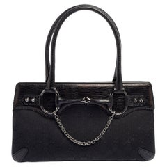 Gucci Black Canvas and Leather Horsebit Chain Tote