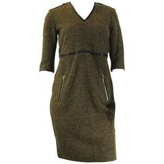 Burberry Brit Brown Woven Knit & Leather Dress
