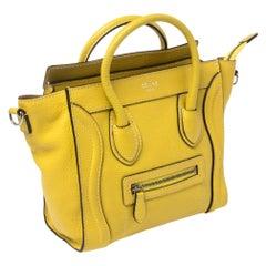 Céline Yellow Leather Nano Luggage Tote