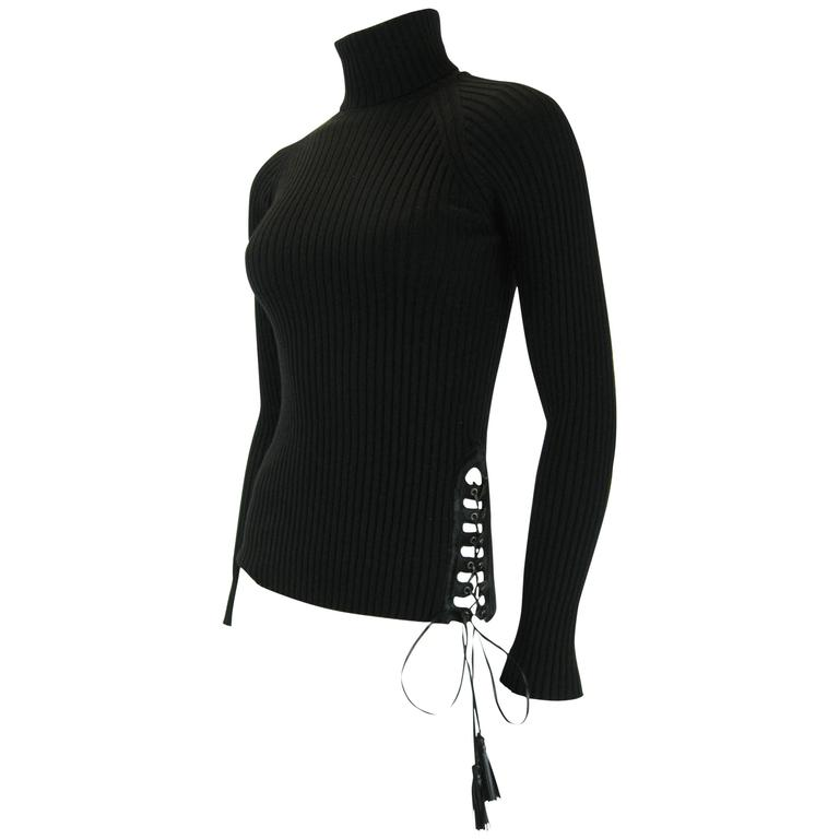 Jean Paul Gaultier Maille Black Sweater with Side Tie
