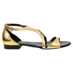 LANVIN gold leather Strap Sandals Shoes 39