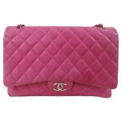 Chanel fucsia leather maxi jumbo shoulder bag