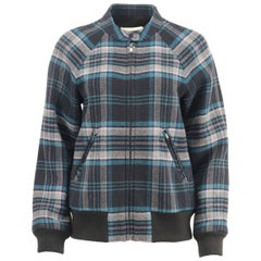 Rebecca Taylor Checked Wool Blend Bomber Jacket LARGE