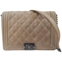 Chanel boy beige suede shoulder bag