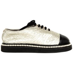 CHANEL warm silver Platform Derby Flats Shoes 38