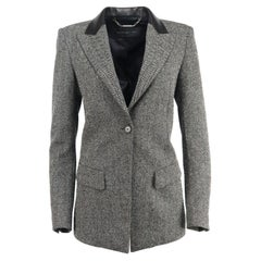 Barbara Bui Leather Trimmed Herringbone Wool Blend Blazer FR 40 UK 12