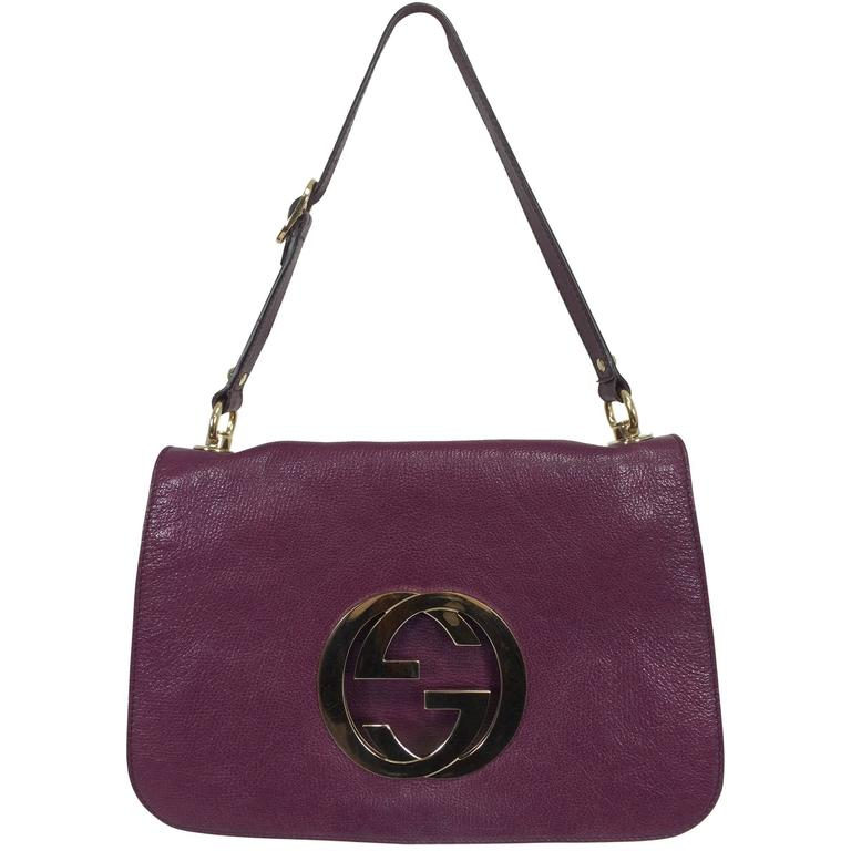 Gucci Blondie rare plum glazed leather shoulder handbag gold hardware