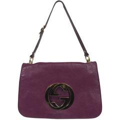 Gucci Blondie rare plum glazed leather shoulder handbag gold hardware