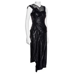 Christian Dior by John Galliano black bias-cut leather dress and vest, ss 2000
