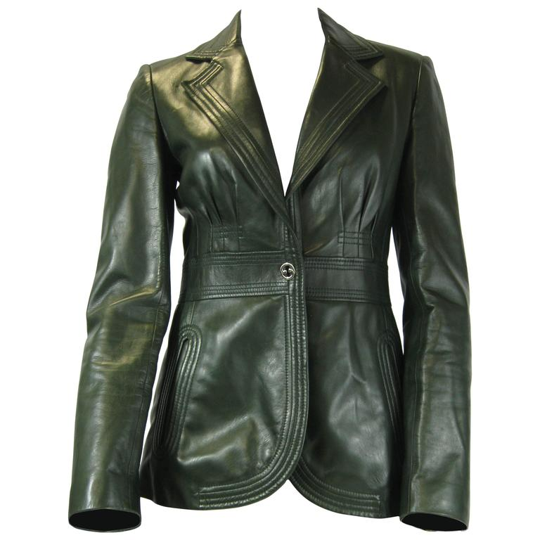 Gucci Forest Green Leather Jacket Size 40