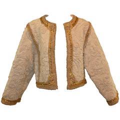 1990's Oscar de la Renta Ivory Lesage Embroidered Beaded Matador Jacket 10
