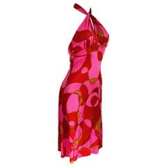 FLORA KUNG ruby pink silk jersey dress